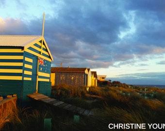 High quality digital photo of Bonbeach beach boxes in Melbourne Victoria Australia