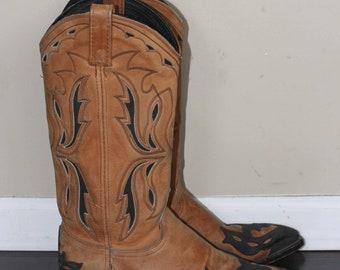 vintage dan post cowboy boots mens size 7.5