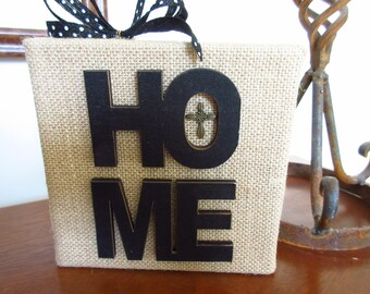 Christian Prayer for Home WORD Art Burlap Canvas Christian Housewarming Welcome Home New Home Decor Shelf Art
