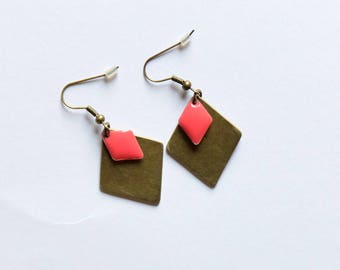 Graphic diamond Earrings - pink coral
