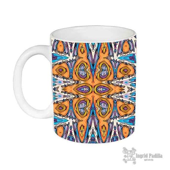 Boho, Mug, Patterned Mug, Mugs, Orange and purple, blue, Unique Coffee Mug, USA, Ceramic Mug, coffee cup, Artsy mug, Art on coffee cup