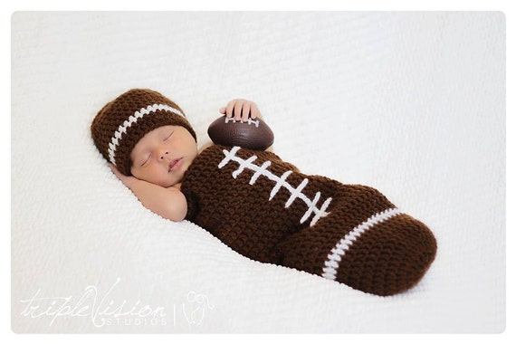 Newborn Football Crochet Hat And Cocoon Photo Prop Set Preemie