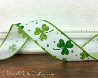 "Wired Ribbon, 1 1/2"" Shamrocks Green White Glitter St. Patrick - THREE YARDS - ""St Pat Glitz"", St Patrick's Day Wire Edged Craft Ribbon"