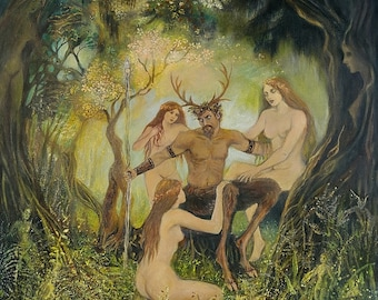 The Council Of Cernunnos 8x10 Fine Art Print Pagan Mythology Horned God Symbolism Goddess Art