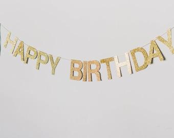 Happy Birthday glitter banner with tassels