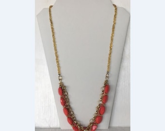 Statement Necklace in Gold and Coral