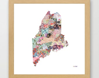 MAINE MAP, maine painting, maine art, colorful map, flowers composition, roses, Giclee Fine Art, Poster Print