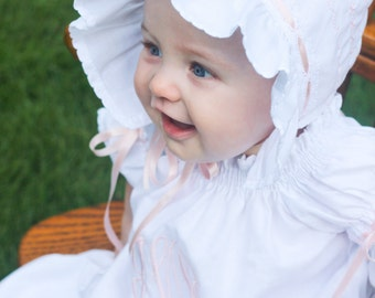 Baby Bonnet Juvie Moon Designs Ivory or White Baby Bonnet Decorative Stitching, Lace and Satin Ribbon