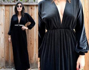 Gypsy Eyes Handmade Vintage Inspired BIANCA MAXI Dress in ONYX