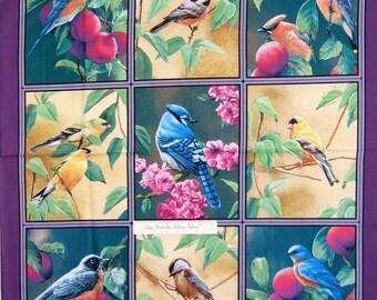 """Wild Wings Fabric Panel - Fruit of the Vine Bird Purple Springs OOP 34"""""""
