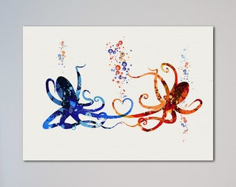 Octopus Love Gift Wedding Poster Watercolor Print Valentine's Day Gift Octopuses In Love