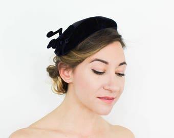 50s Black Raffia & Velvet Hat | Frank Palma
