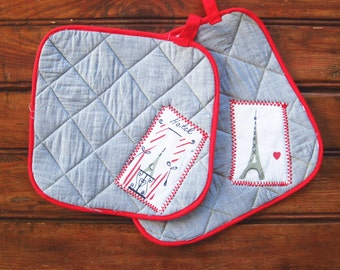 Pot Holder Shabby Chic French Handmade hostess gift Rustic red and chambray kitchen item French inspired kitchen home decor Paris theme gift
