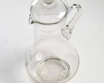 Vintage Clear Glass Pitcher/ Clear Glass Decanter
