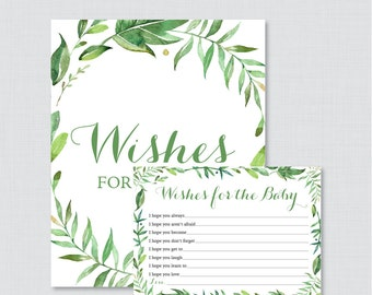 Green Wishes for Baby Baby Shower Activity - Printable Well Wishes for Baby Cards and Sign - Instant Download - Botanical Wreath 0056