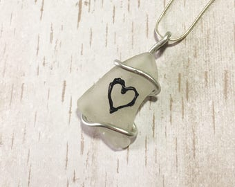 Heart sea glass jewellery, handpainted scottish sea glass, love heart, gift for her, wire wrapped sea glass pendant, wedding, engagement