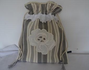 Little bag, vintage ticking old embroidery appliqué.