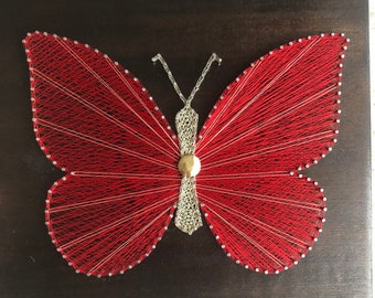 Butterfly. String Art.Home decor. Natural Home. Rustic decor.Wooden Wall art.
