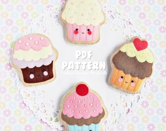 Cupcake Sugar Cookies PDF Pattern. Digital Pattern. Felt Soft Toy Pattern.