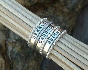 Sterling Silver Stacking Name Ring Build your own Set Personalized stackable rings Hand stamped Mothers Day Gift CZ Diamond Ring Beaded Rope