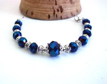 Bracelet vintage chic, blue, silver