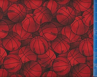 Basketball Red Fabric Quilting Crafting Home Decor