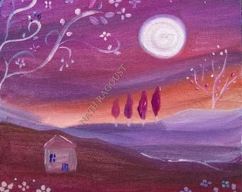 The softness of the night - landscape naive romantic Nathalie Ragoust - Peinture-acrylic