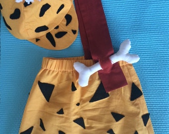 BAM BAM costume Flinstones. Hand made and personalizable for baby, toddler and child sizes.