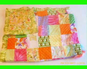 Patchwork Crib Quilt -Yellow Flowered Flannel with Green Blanket Binding