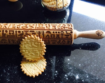 HIEROGLYPHS rolling pin, embossing rolling pin, engraved rolling pin by laser
