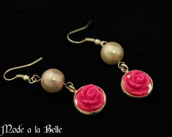 Hot Pink Rose and Pearl Drop Earrings