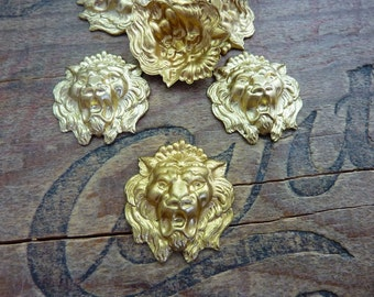 Raw Brass Stamping Lion Stamping Fierce Lion Head Stamping (1)