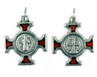 Set of 4- Red Enamel Beautifully Accented St. Benedict Crosses/Medals