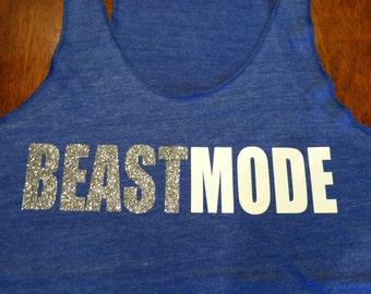 Beastmode Workout Tank Glitter BLUE