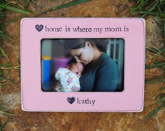 Home Is Where My Mom is Mother's Day Frame Gift Mom Birthday Mother Gift Picture Frames Baby shower Pregnancy Expecting Nursery Decor