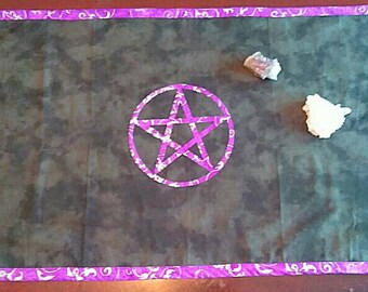"""Pentacle Altar Cloth 40x20"""" Purple and Silver on Black"""