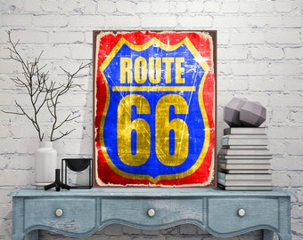 Route 66, Sign, Custom signs, Metal sign of the route, Route sign, Custom gift, House warming gift, Street sign, Custom street sign