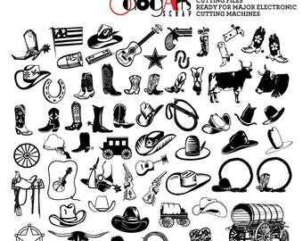 Wild West Cowboy Digital Cut Files Svg Dxf Eps Png Silhouette SCAL Cricut Vector Printable Download for DIY Paper, Vinyl Die Cutting JB-705