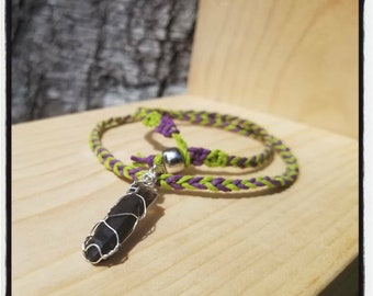 "Smokey Quartz ""CLOWN PRINCE"" Hemp Necklace~Sterling Silver"