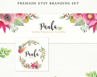 Etsy Cover Photo · Etsy Banner · Etsy Shop Set · Watercolor Flowers Branding Kit · Branding Package · Premade Etsy Shop Set · Etsy shop kit