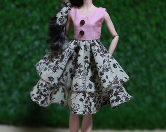 Printed Cotton Pink Dress for Silkstone Barbie Doll Outfits with Fabric Accessery