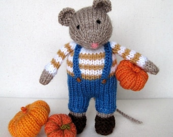 Pip the Mouse and pumpkins knitting pattern - INSTANT DOWNLOAD