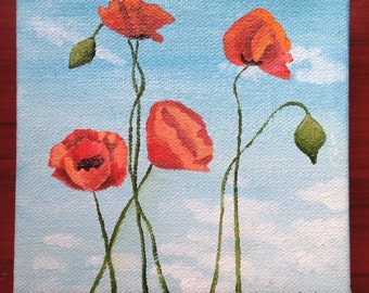 Poppies with sky background