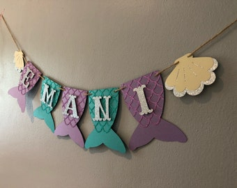 Mermaid Name Banner, baby shower, first birthday, under the sea,  mermaid party, mermaid banner, Purple, teal, and silver