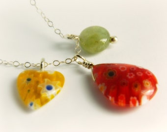 Millefiori Sterling Silver Charm Necklace - Citrus Colors