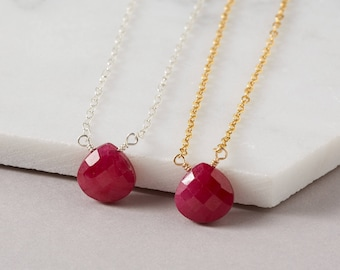 Ruby Necklace - July Birthstone - Christmas Gift - Birthstone Necklace - July Birthday - Dainty Necklace - Ruby Necklace - Genuine Ruby