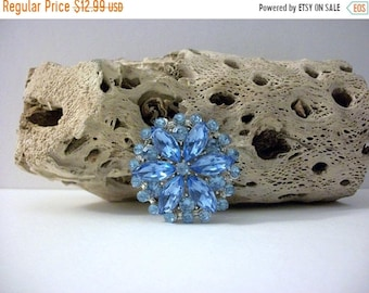 ON SALE Vintage Silver Tone Metal Sparkling Lady Sings The Blues Rhinestone Acrylic Inlays Pin 40117