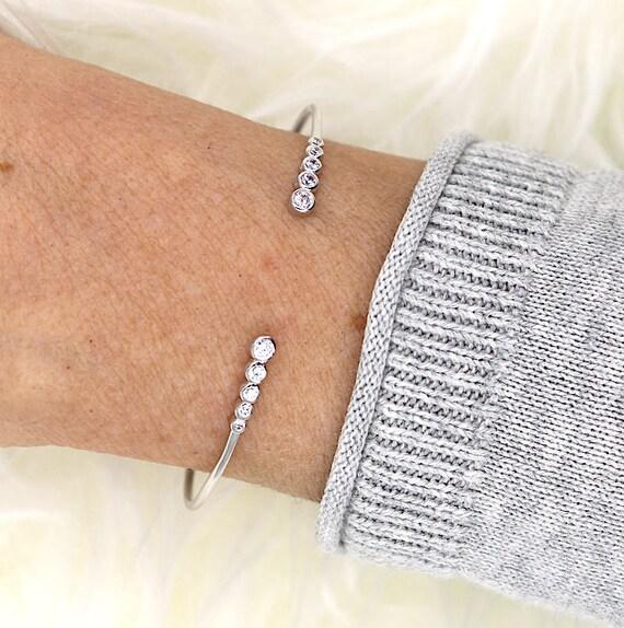 women zirconium stones and 925 sterling silver Bangle Bracelet
