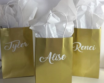 Gold bridesmaid gift bags-personalized gift bags-custom gift bags-bridesmaid gifts-bridesmaid gift bags-bridal party ideas-wedding gift bags