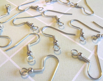 24pcs (12 pairs) Surgical Stainless Steel French Hook Earwires with Backs earwires diy jewelry finding supplies